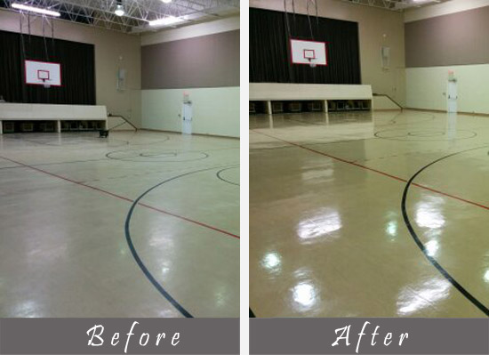 before and after view of basketball floor