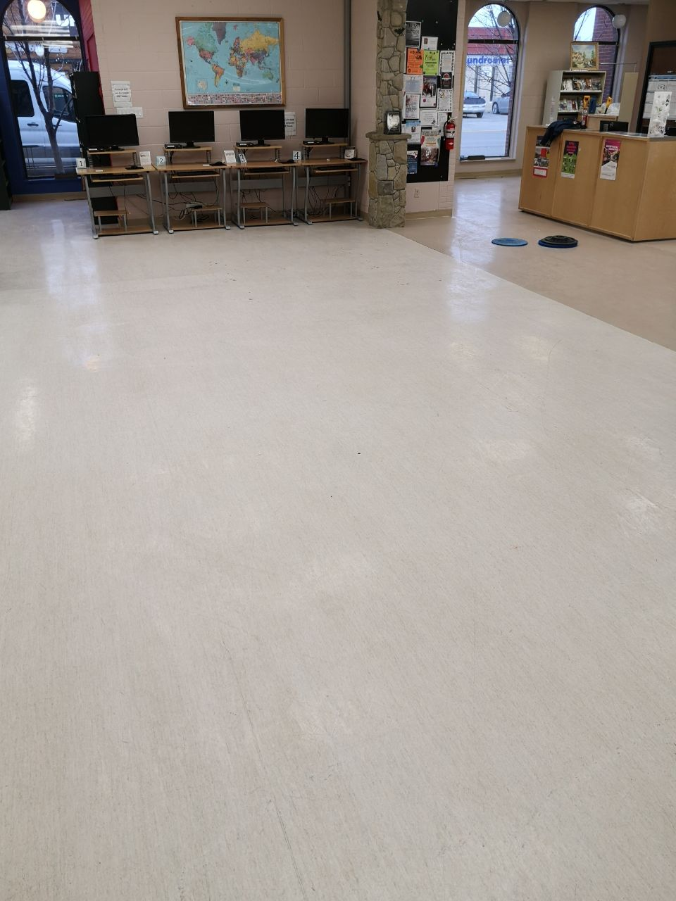 View of a commercial floor before cleaning
