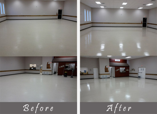 before and after view of commercial floor cleaning