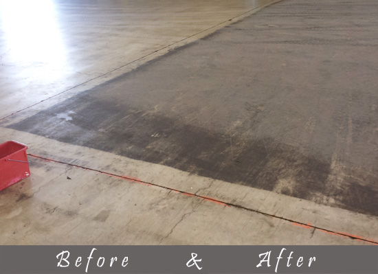 before and after view of wooden floor cleaning