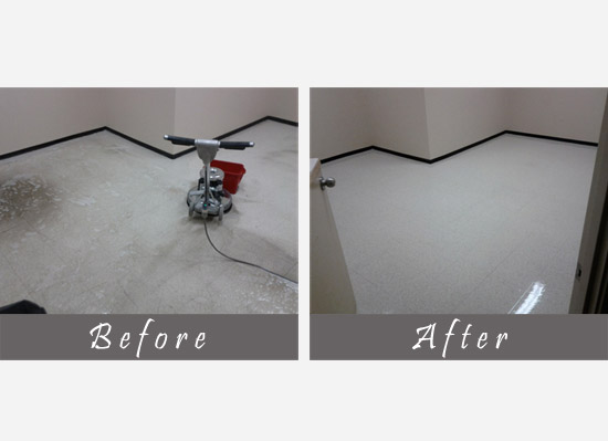 before and after view of floor cleaning