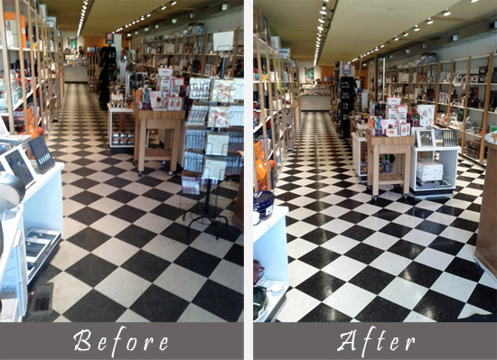 before and after view of retail store cleaning